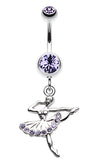 Elegant Ballerina Belly Button Ring - 14 GA (1.6mm) - Blue - Sold Individually