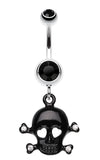 Heart Eyed Skull and Crossbones Sparkle Belly Button Ring - 14 GA (1.6mm) - Black - Sold Individually