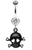 Heart Eyed Skull and Crossbones Sparkle Belly Button Ring - 14 GA (1.6mm) - Clear/Black - Sold Individually