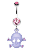 Heart Eyed Skull and Crossbones Sparkle Belly Button Ring - 14 GA (1.6mm) - Pink/Purple - Sold Individually