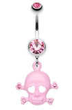 Heart Eyed Skull and Crossbones Sparkle Belly Button Ring - 14 GA (1.6mm) - Pink - Sold Individually