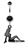 Mudflap Trucker Girl Sparkle Belly Button Ring - 14 GA (1.6mm) - Black/Clear - Sold Individually