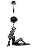 Mudflap Trucker Girl Sparkle Belly Button Ring - 14 GA (1.6mm) - Black - Sold Individually