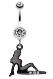 Mudflap Trucker Girl Sparkle Belly Button Ring - 14 GA (1.6mm) - Clear - Sold Individually