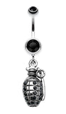 Hand Grenade Sparkle Belly Button Ring - 14 GA (1.6mm) - Black - Sold Individually