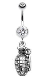 Hand Grenade Sparkle Belly Button Ring - 14 GA (1.6mm) - Clear - Sold Individually