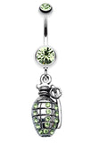 Hand Grenade Sparkle Belly Button Ring - 14 GA (1.6mm) - Light Green - Sold Individually