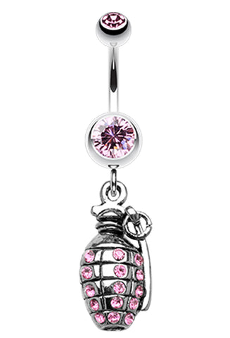 Hand Grenade Sparkle Belly Button Ring - 14 GA (1.6mm) - Light Pink - Sold Individually