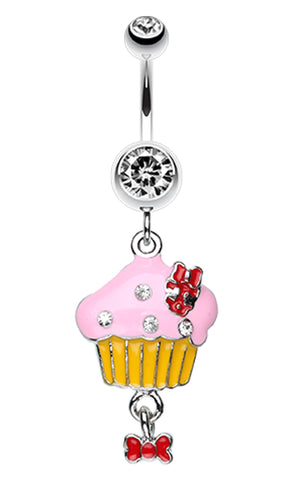 Yummy Cupcake Bow Belly Button Ring - 14 GA (1.6mm) - Clear - Sold Individually
