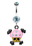 Pirate Crossbones Cupcake Belly Button Ring - 14 GA (1.6mm) - Aqua - Sold Individually