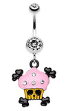 Pirate Crossbones Cupcake Belly Button Ring - 14 GA (1.6mm) - Clear - Sold Individually