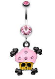 Pirate Crossbones Cupcake Belly Button Ring - 14 GA (1.6mm) - Light Pink - Sold Individually