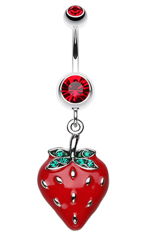 Vibrant Strawberry Dangle Belly Button Ring - 14 GA (1.6mm) - Red - Sold Individually