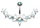Glister Stars Arc Belly Button Ring - 14 GA (1.6mm) - Aqua/Aurora Borealis - Sold Individually