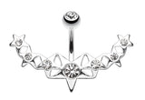 Glister Stars Arc Belly Button Ring - 14 GA (1.6mm) - Clear - Sold Individually