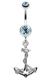 Classic Rope Anchor Belly Button Ring - 14 GA (1.6mm) - Aqua - Sold Individually
