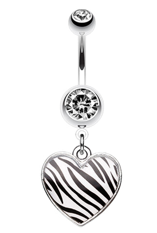 Zebra Pattern Heart Belly Button Ring - 14 GA (1.6mm) - White - Sold Individually