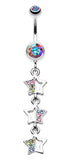 Triple Sparkling Star Belly Button Ring - 14 GA (1.6mm) - Aurora Borealis/Rainbow - Sold Individually