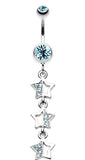 Triple Sparkling Star Belly Button Ring - 14 GA (1.6mm) - Aqua - Sold Individually