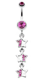 Triple Sparkling Star Belly Button Ring - 14 GA (1.6mm) - Fuchsia - Sold Individually