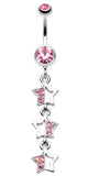 Triple Sparkling Star Belly Button Ring - 14 GA (1.6mm) - Light Pink - Sold Individually