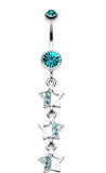 Triple Sparkling Star Belly Button Ring - 14 GA (1.6mm) - Teal - Sold Individually