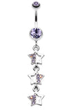 Triple Sparkling Star Belly Button Ring - 14 GA (1.6mm) - Blue - Sold Individually
