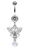 Sparkling Butterfly Glass-Gem Belly Button Ring - 14 GA (1.6mm) - Clear - Sold Individually
