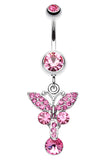 Sparkling Butterfly Glass-Gem Belly Button Ring - 14 GA (1.6mm) - Light Pink - Sold Individually