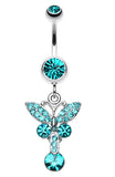 Sparkling Butterfly Glass-Gem Belly Button Ring - 14 GA (1.6mm) - Teal - Sold Individually