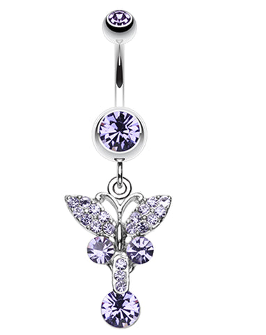 Sparkling Butterfly Glass-Gem Belly Button Ring - 14 GA (1.6mm) - Blue - Sold Individually