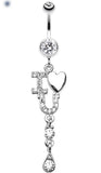 I Heart You Sparkle Belly Button Ring - 14 GA (1.6mm) - Clear - Sold Individually
