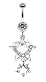 Sparkling Heart Star Dangle Belly Button Ring - 14 GA (1.6mm) - Clear - Sold Individually