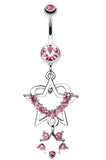 Sparkling Heart Star Dangle Belly Button Ring - 14 GA (1.6mm) - Light Pink - Sold Individually
