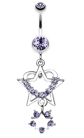Sparkling Heart Star Dangle Belly Button Ring - 14 GA (1.6mm) - Blue - Sold Individually