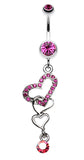 Alluring Jeweled Heart Belly Button Ring - 14 GA (1.6mm) - Fuchsia - Sold Individually