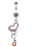 Alluring Jeweled Heart Belly Button Ring - 14 GA (1.6mm) - Light Pink - Sold Individually
