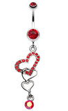 Alluring Jeweled Heart Belly Button Ring - 14 GA (1.6mm) - Red - Sold Individually