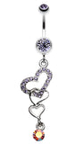 Alluring Jeweled Heart Belly Button Ring - 14 GA (1.6mm) - Blue - Sold Individually