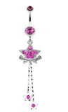 Shimmering Star Banner Belly Button Ring - 14 GA (1.6mm) - Fuchsia - Sold Individually
