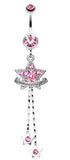 Shimmering Star Banner Belly Button Ring - 14 GA (1.6mm) - Light Pink - Sold Individually