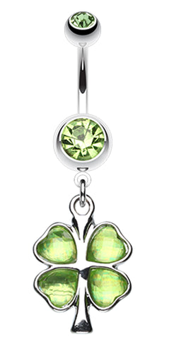 Lucky Four Leaf Clover Dangle Belly Button Ring - 14 GA (1.6mm) - Green - Sold Individually
