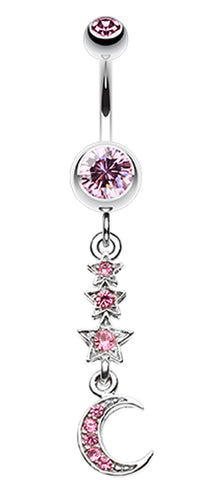 Beaming Stars and Moon Belly Button Ring - 14 GA (1.6mm) - Light Pink - Sold Individually