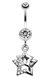 Double Hollow Star Glass-Gem Dangle Belly Button Ring - 14 GA (1.6mm) - Clear - Sold Individually