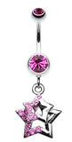 Double Hollow Star Glass-Gem Dangle Belly Button Ring - 14 GA (1.6mm) - Fuchsia - Sold Individually