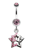 Double Hollow Star Glass-Gem Dangle Belly Button Ring - 14 GA (1.6mm) - Light Pink - Sold Individually