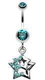 Double Hollow Star Glass-Gem Dangle Belly Button Ring - 14 GA (1.6mm) - Teal - Sold Individually
