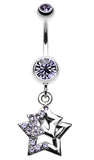 Double Hollow Star Glass-Gem Dangle Belly Button Ring - 14 GA (1.6mm) - Blue - Sold Individually