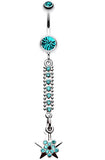 Twinkling Journey to the Stars Belly Button Ring - 14 GA (1.6mm) - Teal - Sold Individually