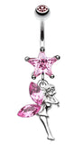Star Fairy Belly Button Ring - 14 GA (1.6mm) - Light Pink - Sold Individually